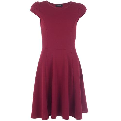 Šaty Clubl Womens Crepe Cap Sleeve Skater Dress Berry