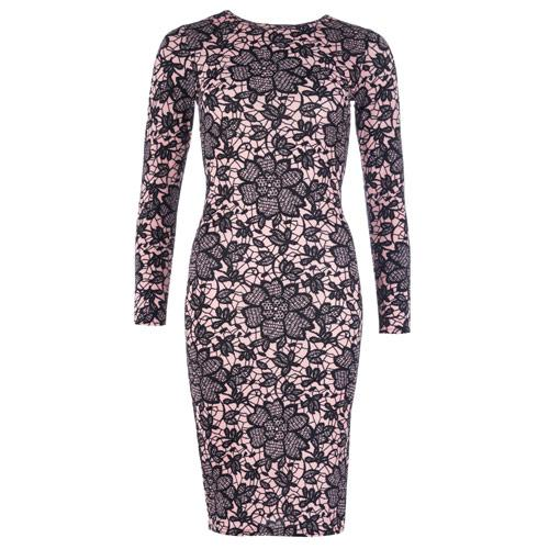Šaty Clubl Womens Lace Print Crepe Midi Dress Pink
