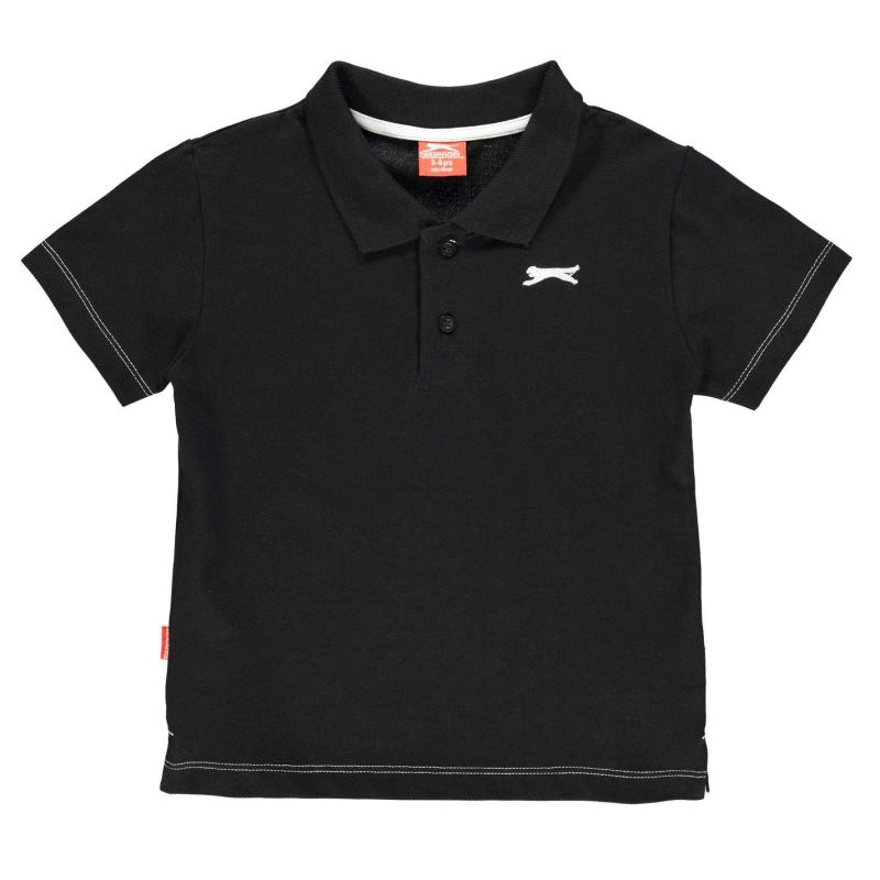 Tričko Slazenger Plain Polo Shirt Infant Boys Black