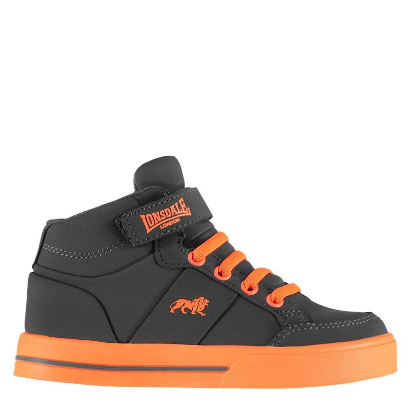 Lonsdale Canons Childrens Hi Top Trainers Grey/Orange