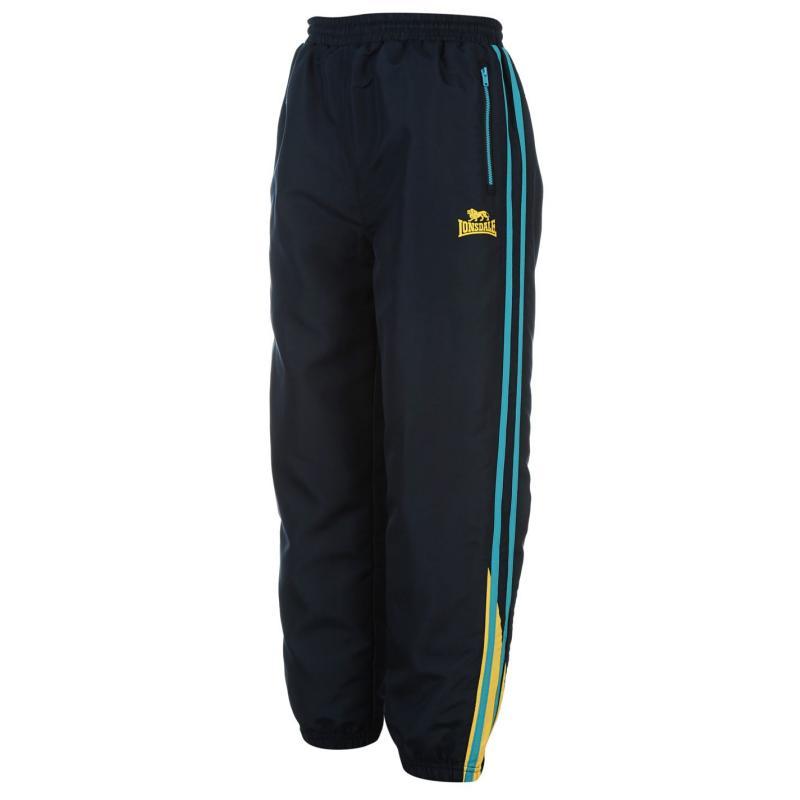 Tepláky Lonsdale 2 Stripe Closed Hem Woven Pants Junior Boys Navy/BrBlue/Yel