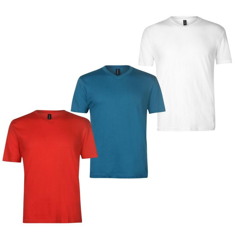 Tričko Donnay Three Pack V Neck T Shirt Mens Red/Teal/White