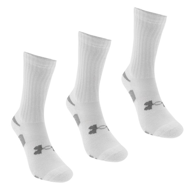 Ponožky Under Armour HeatGear 3 Pack Mens Crew Socks White