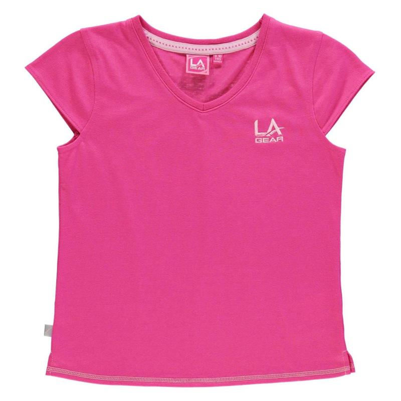 LA Gear V Neck T Shirt Junior Girls Dark Pink