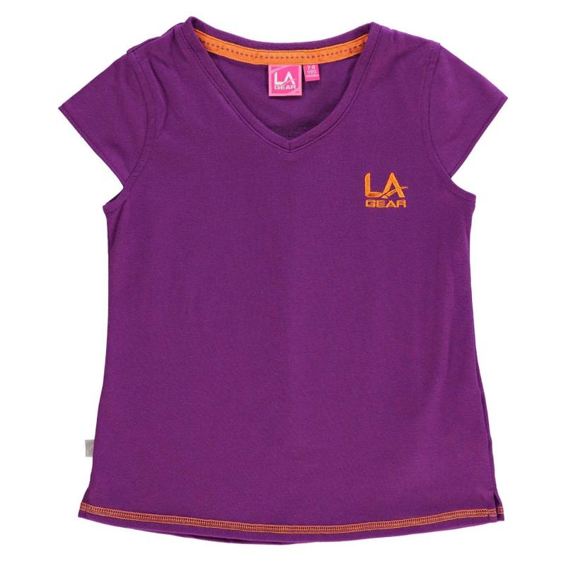LA Gear V Neck T Shirt Junior Girls Purple