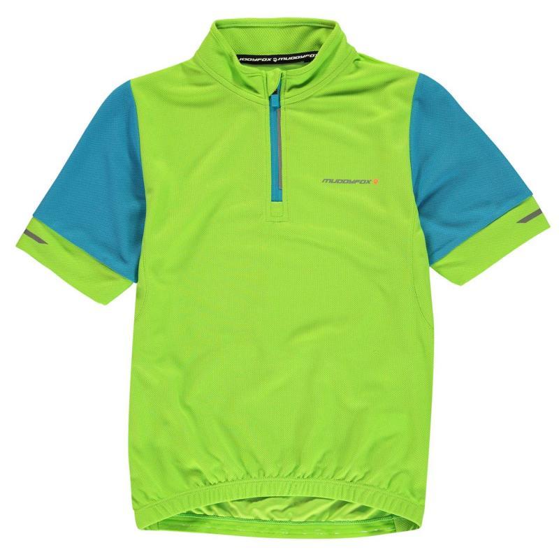Muddyfox Short Sleeved Cycling Jersey Junior Green/Black