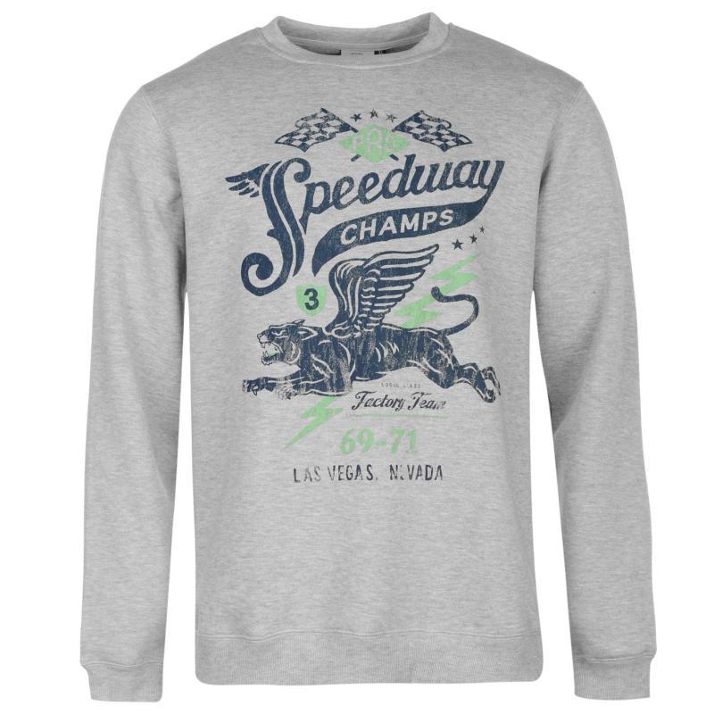 Mikina Giorgio Speedway Crew Sweater Mens Grey Marl