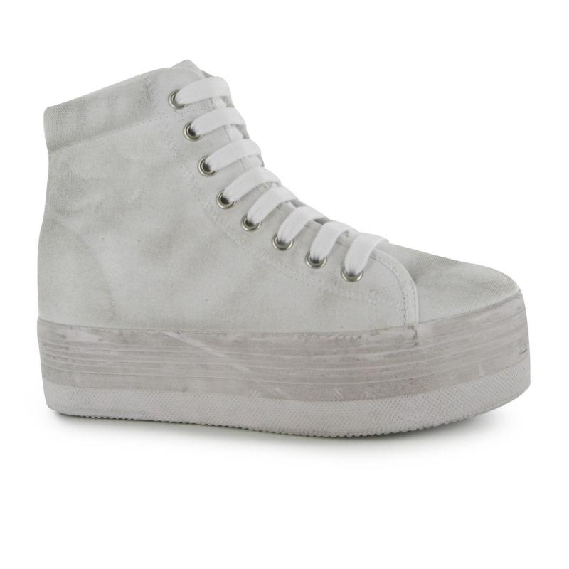 Jeffrey Campbell Play Canvas Washed Hi Tops White