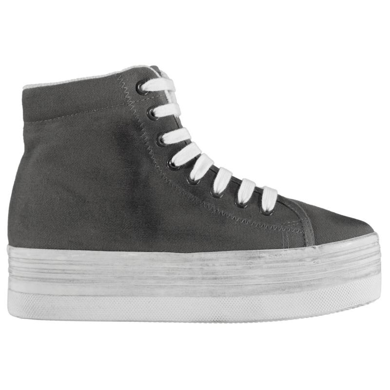 Jeffrey Campbell Play Canvas Washed Hi Tops Grey/White