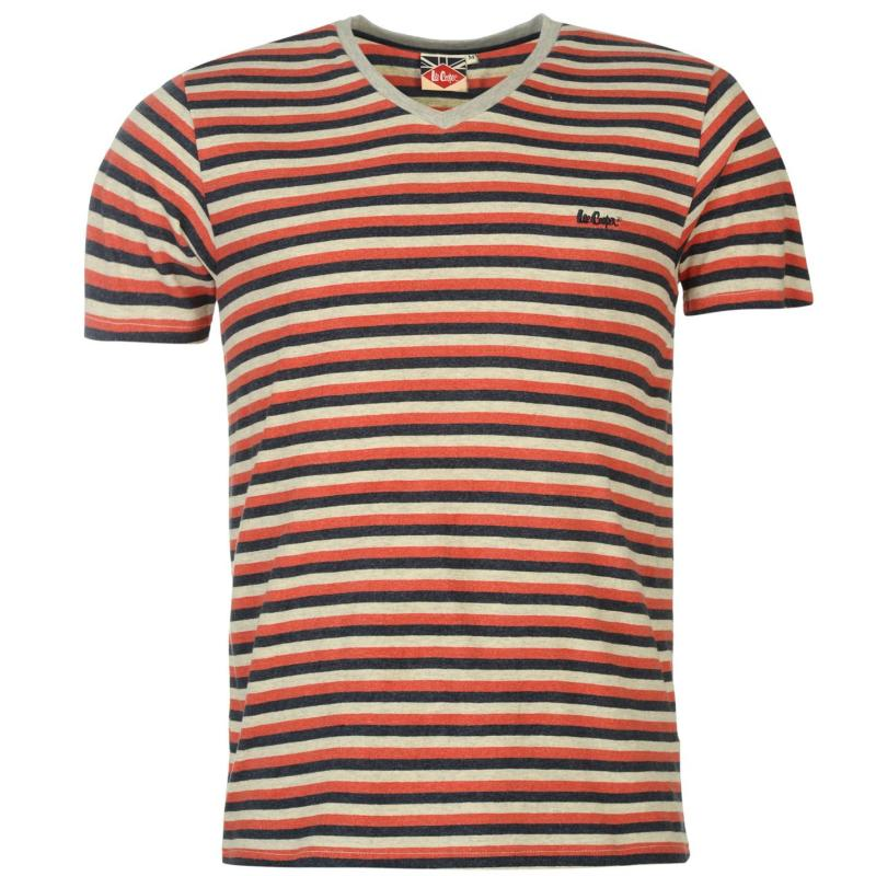Tričko Lee Cooper Yarn Dye V Neck T Shirt Mens Red/Navy/Ecru