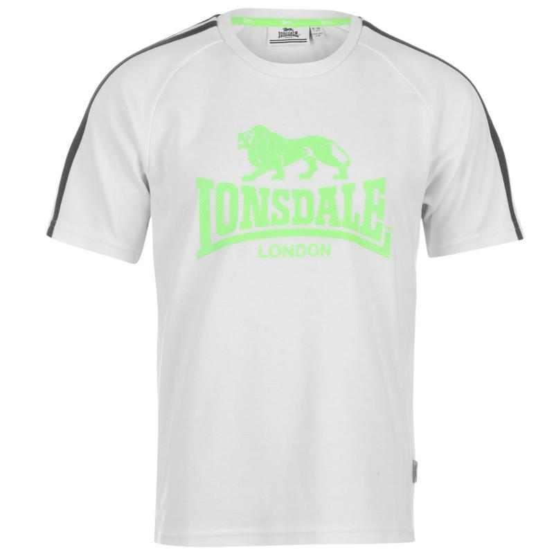 Tričko Lonsdale 2 Stripe Large Logo T Shirt Junior Boys Wht/DkChar/Grn