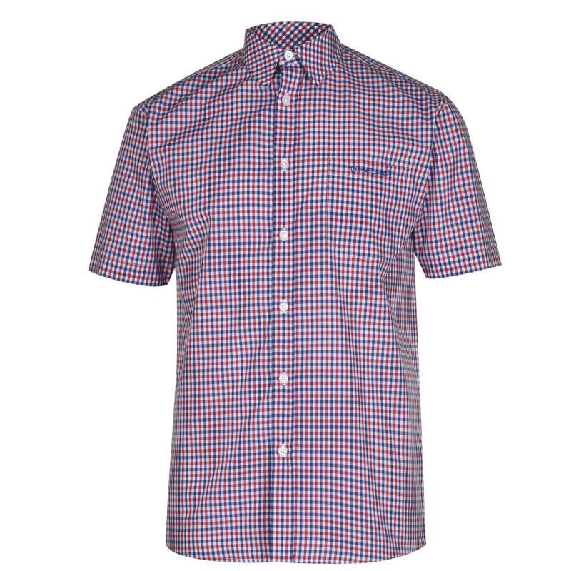 Pierre Cardin Short Sleeve Shirt Mens Red/Royal Check