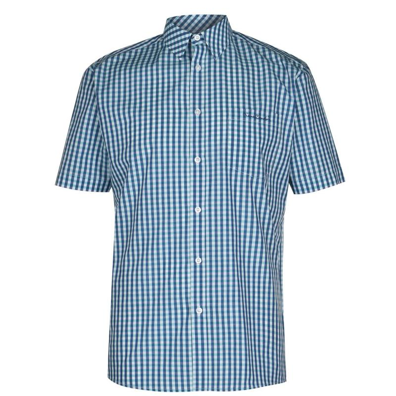 Pierre Cardin Short Sleeve Shirt Mens Royal/Aqua