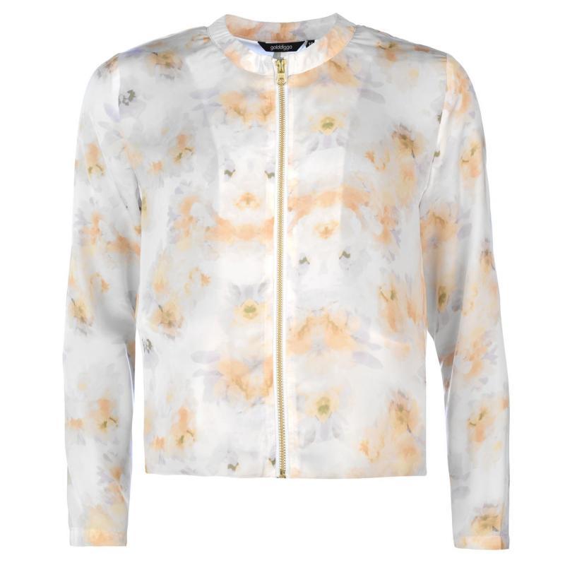 Golddigga Bomber Jacket Ladies White Floral