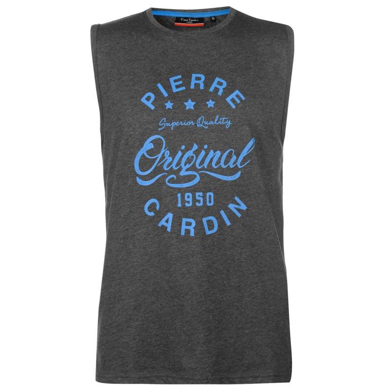 Tílko Pierre Cardin Logo Sleeveless T Shirt Mens Charcoal Marl
