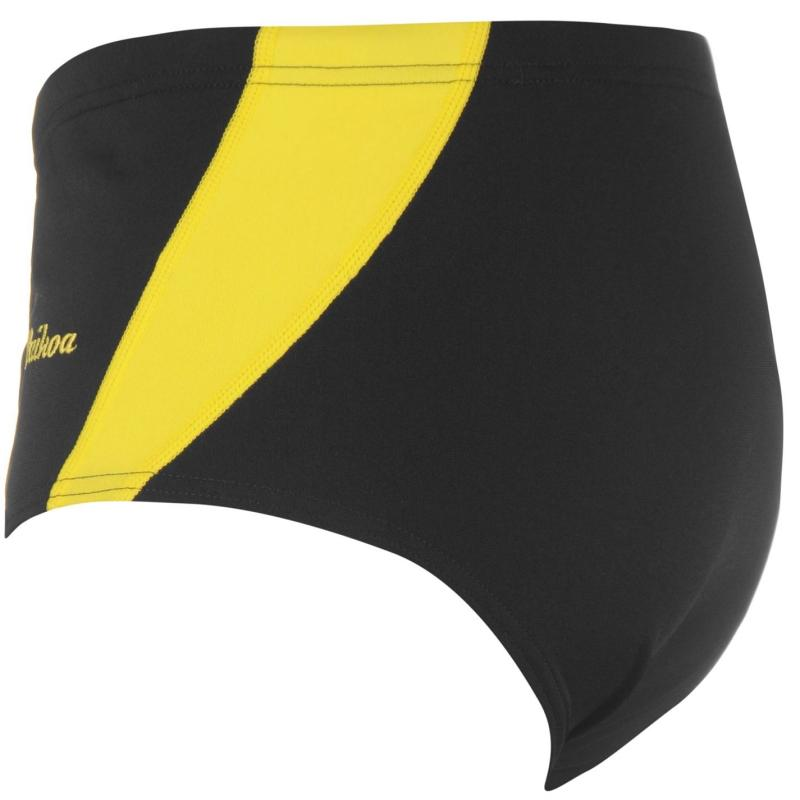 WaiKoa 15cm Swimming Brief Mens Black/Yellow