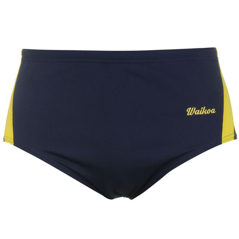 WaiKoa 15cm Swimming Brief Mens Navy/Yellow