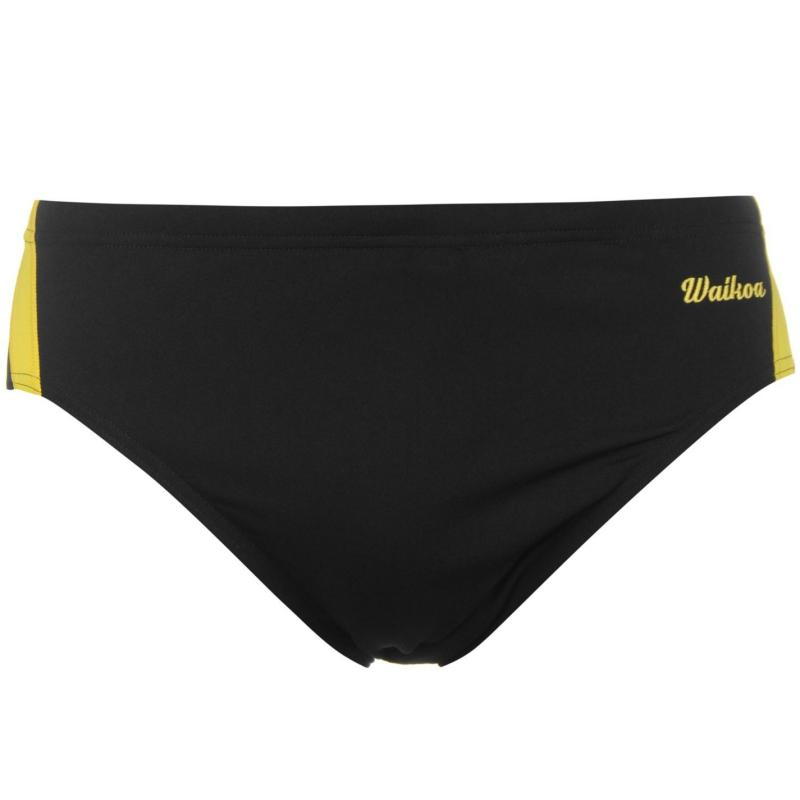 WaiKoa 8cm Swimming Brief Mens Black/Yellow