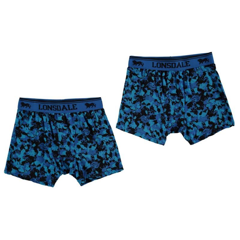 Spodní prádlo Lonsdale 2 Pack Boxers Junior Blue Pattern