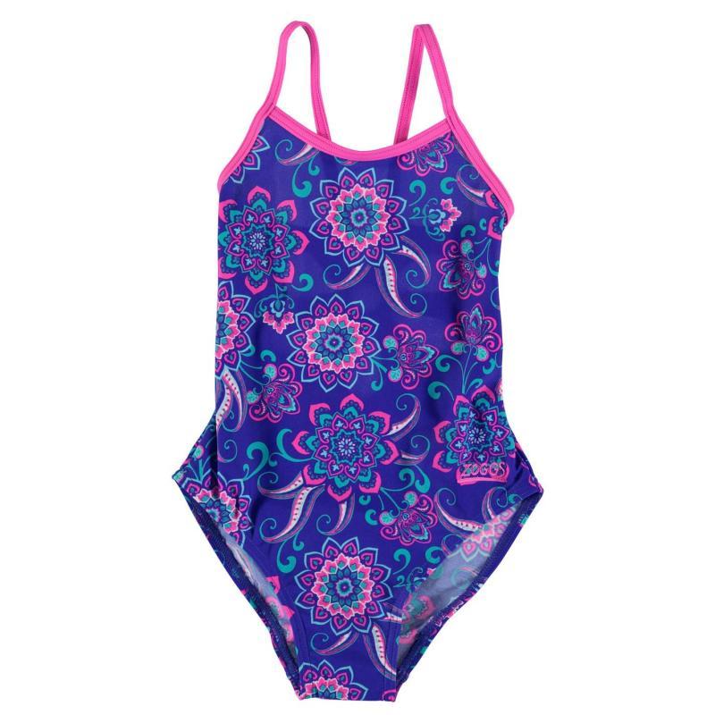 Zoggs Flower Back Yaroomba Swimming Costume Junior Girls Pink