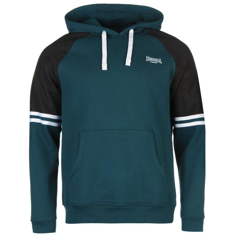 Mikina Lonsdale Heavy Over The Head Hoody Mens Petrol Green