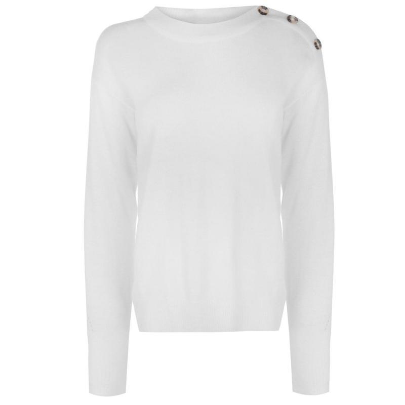 Svetr JDY Laura Button Knit Jumper White