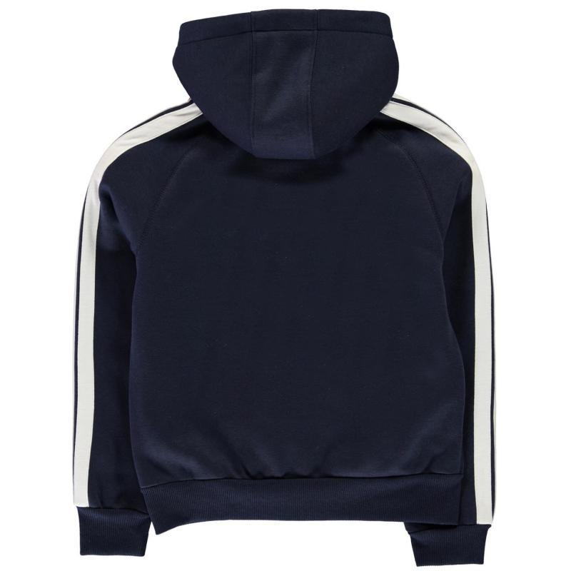 Mikina Lonsdale 2 Stripe Zip Hoody Junior Boys Navy/White