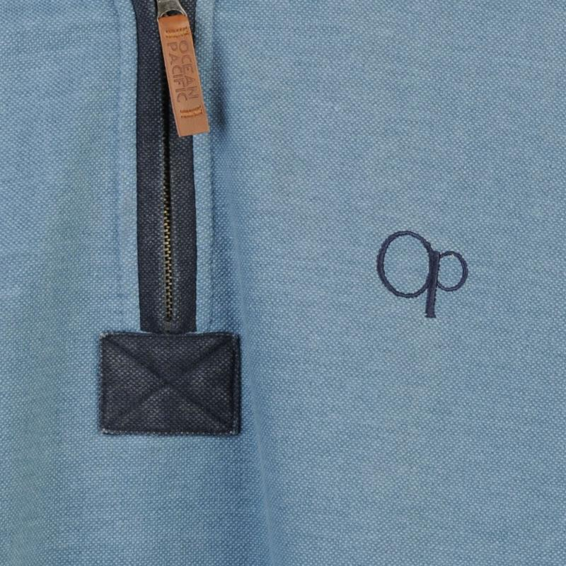 Mikina Ocean Pacific Quarter Pique Sweater Mens Blue