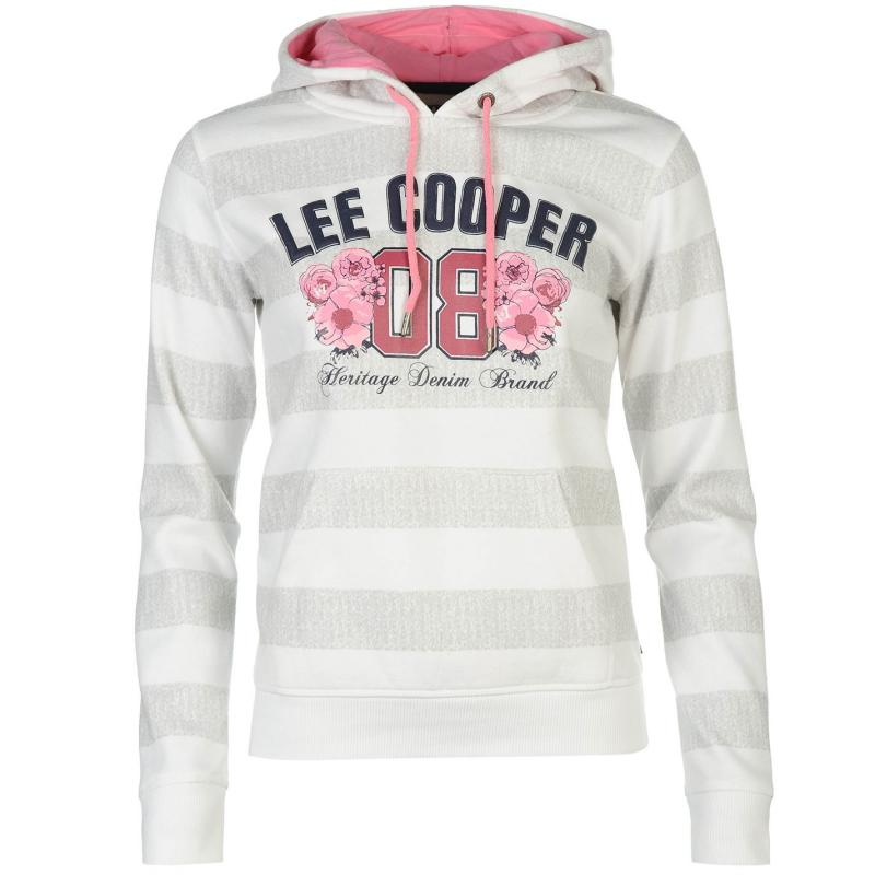 Mikina s kapucí Lee Cooper Textured AOP Over The Head Hoody Ladies White/Grey Str