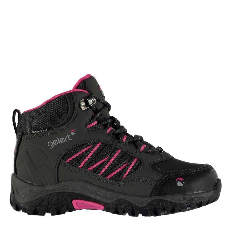 Gelert Horizon Waterproof Childrens Walking Boots Charcoal/Pink