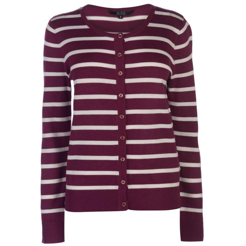 Svetr Miso Stripe Button Cardigan Ladies Purple