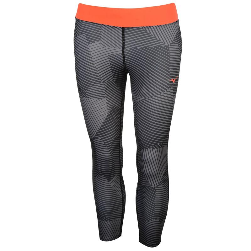 Legíny Mizuno Phenix Three Quarter Running Tights Ladies Black/Grey