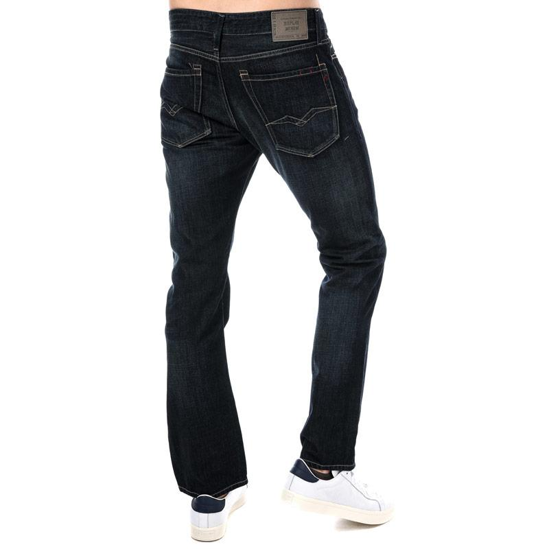 Replay Mens Waitom Regular Slim Fit Jeans Blue