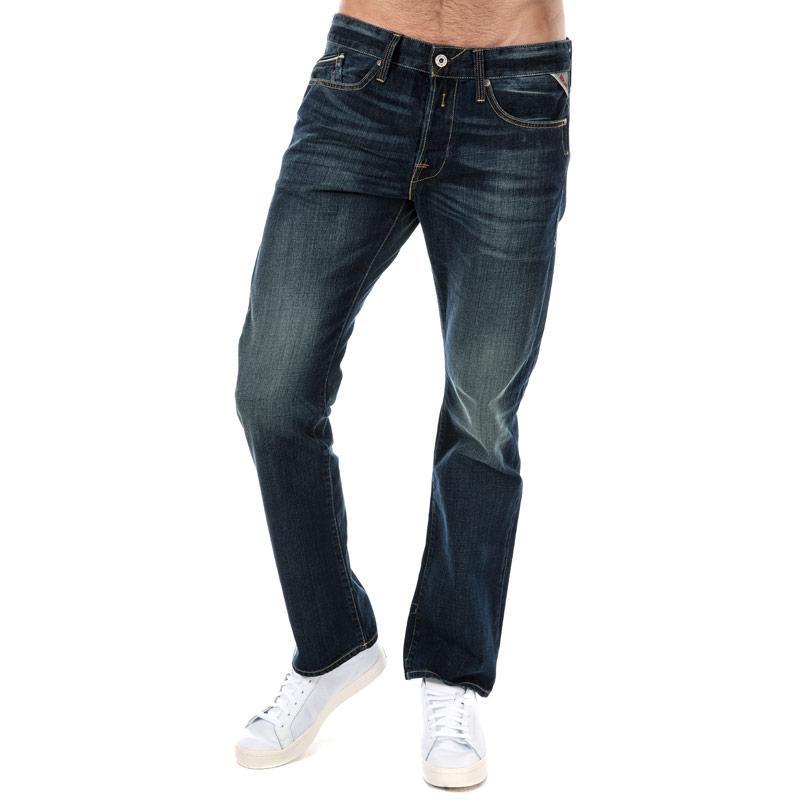 Replay Mens Waitom Regular Slim Fit Jeans Blue