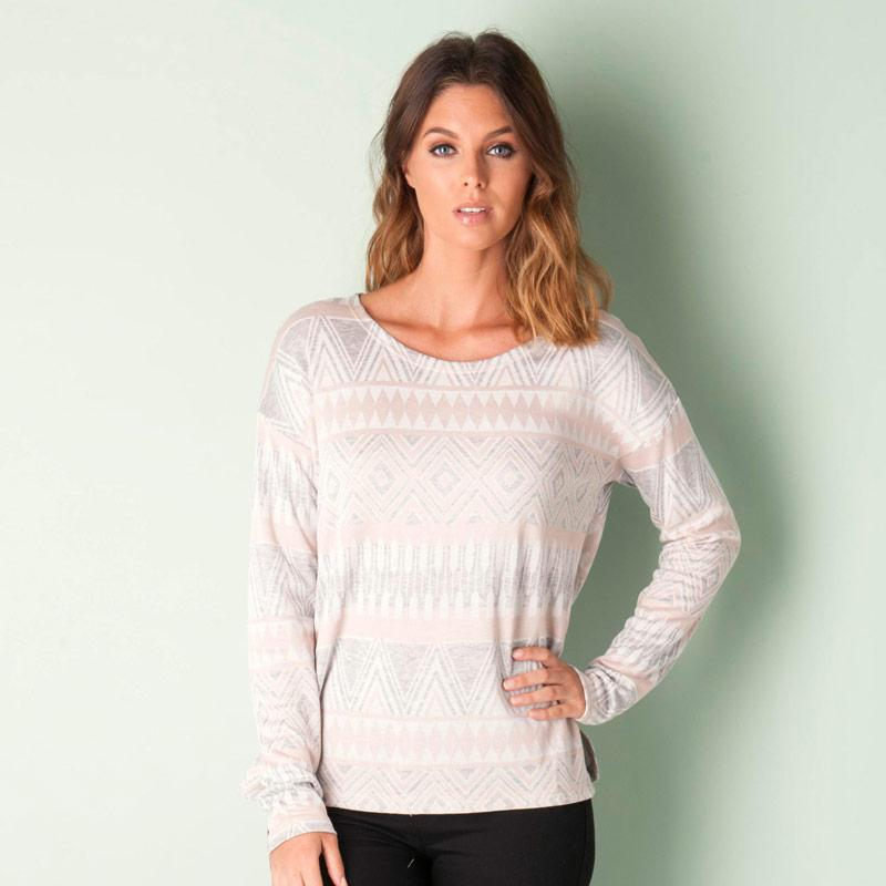 Only Womens Jacquard Slit Top Rose