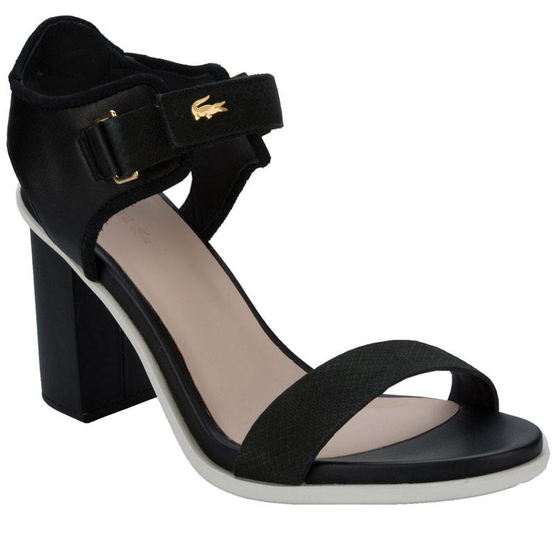 Lacoste Womens Lonelle Heel Sandals Black-White