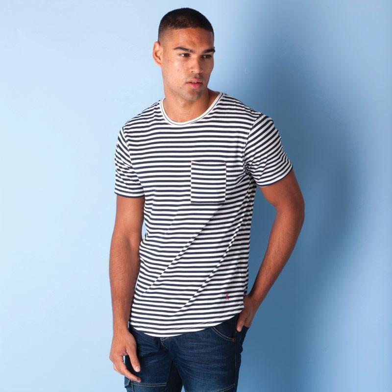 Tričko Ringspun Mens Shifty Pocket T-Shirt White Navy