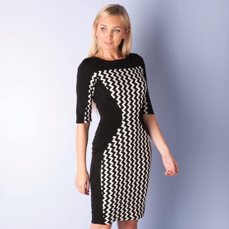 Šaty Closet Womens 3 Quarter Sleeve Zig Zag Bodycon Dress Black-White