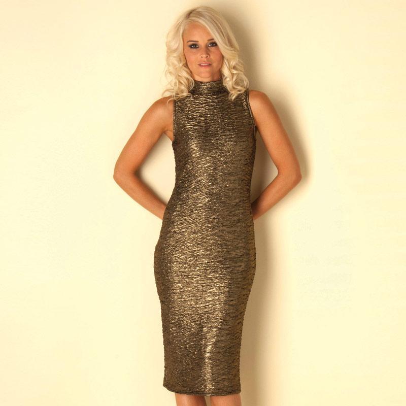 Šaty Clubl Womens Crinkle Midi Dress Gold