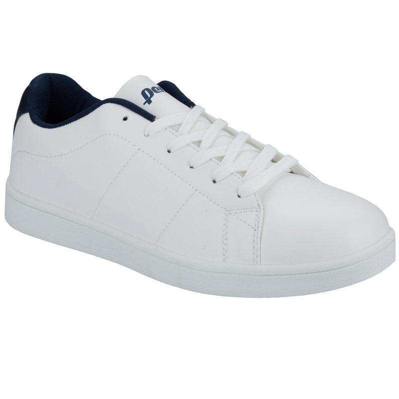 Penn Mens Court Lace Up Trainers White