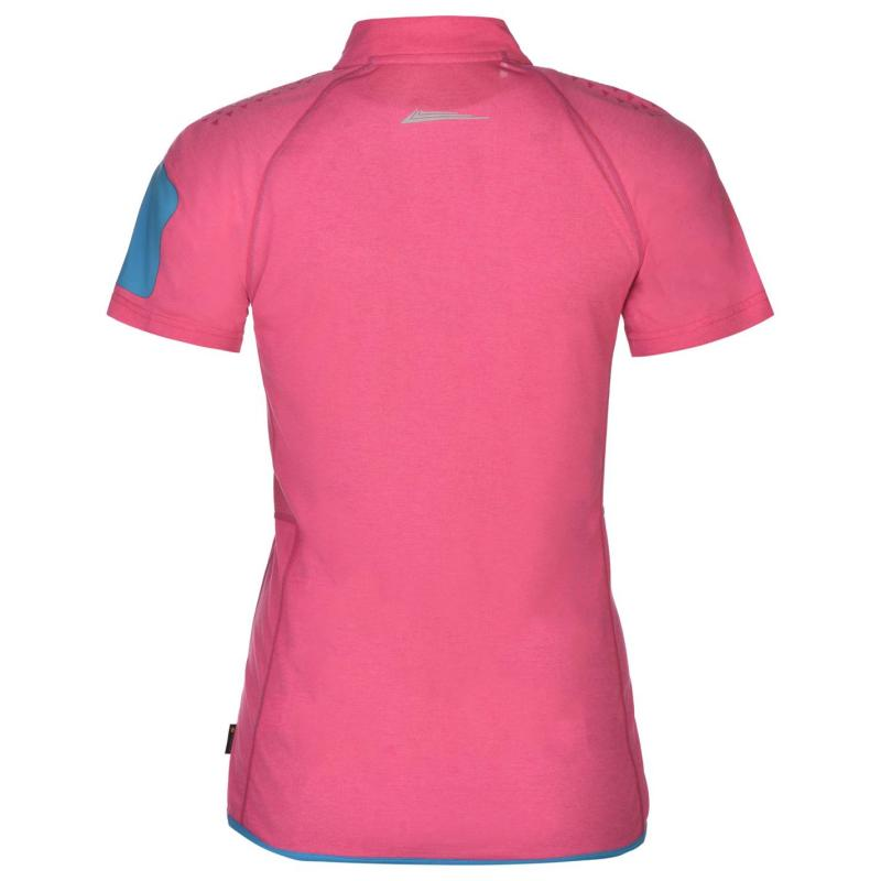 Ron Hill Training Short Sleeve Zip Top Ladies Rose/Sky Blue