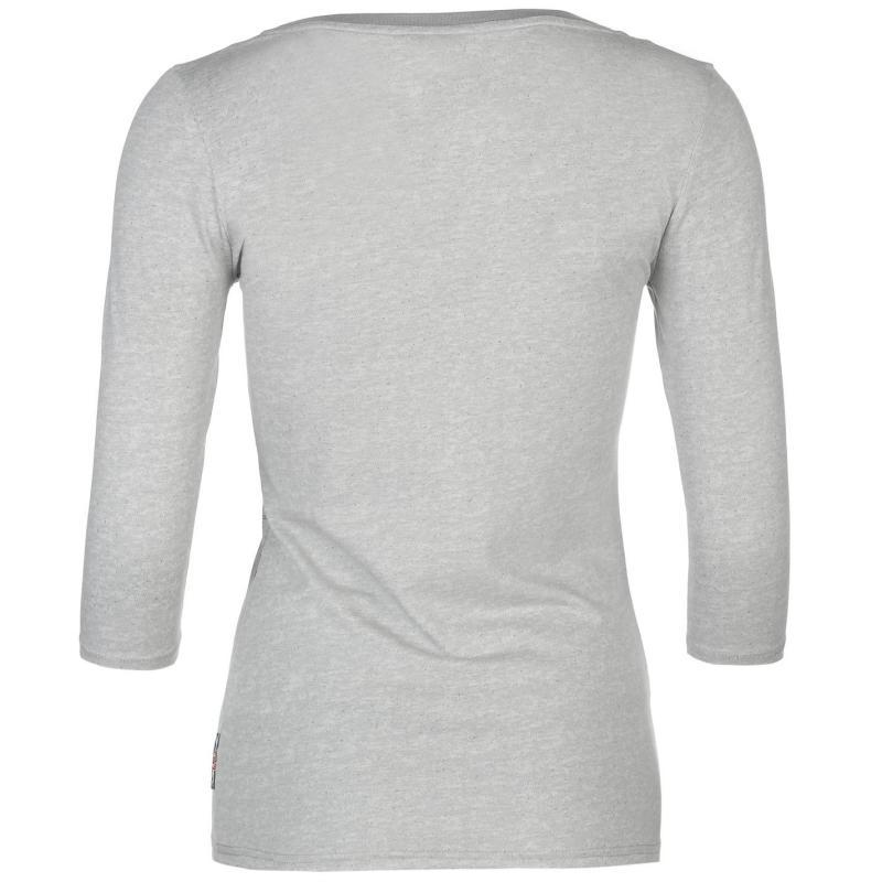 Lee Cooper Textured Three Quarter Scoop Neck T Shirt Ladies Grey