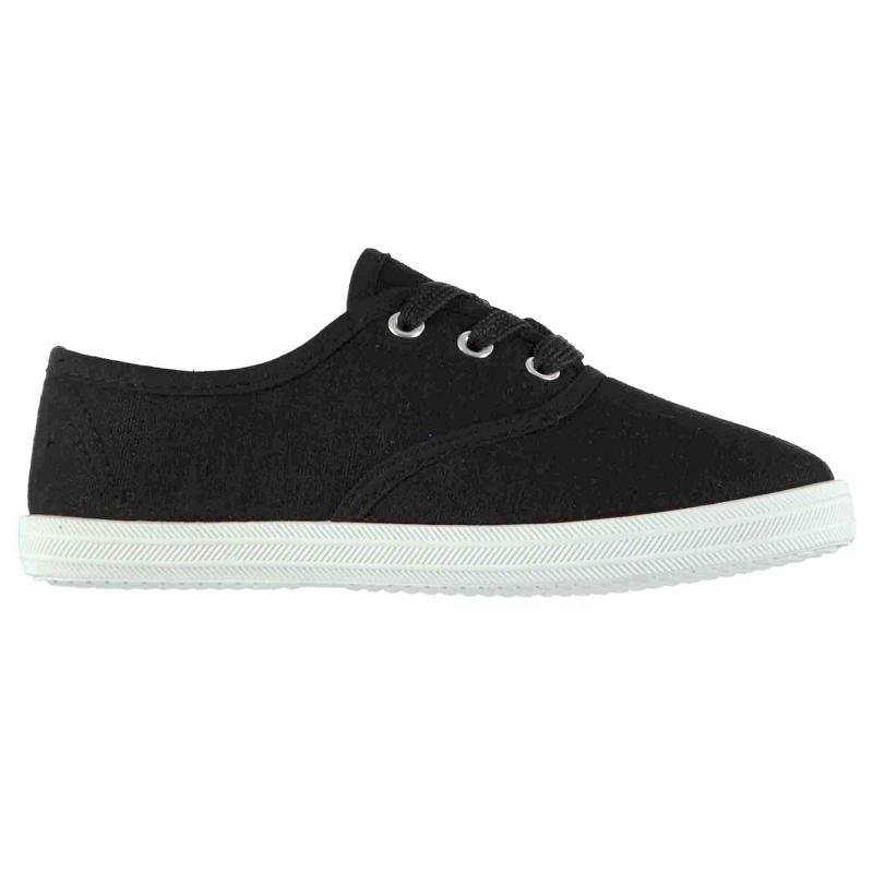 Heatons Laced Canvas Pumps Child Girls Black