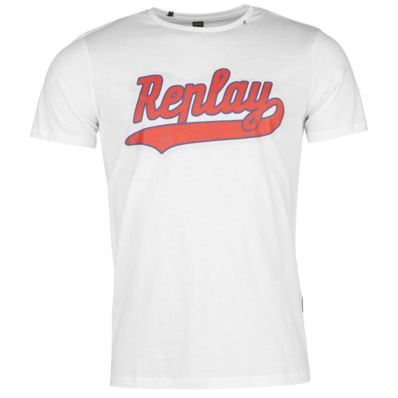 Tričko Replay Chest Logo T Shirt Mens White