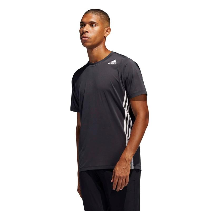 Adidas Mens Freelift Fleece 3-Stripes T-Shirt Black