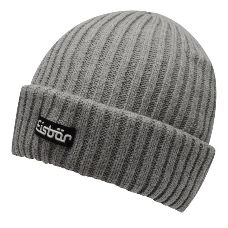 Eisbär Eisbar Rippmutze Beanie Hat Mens Grey