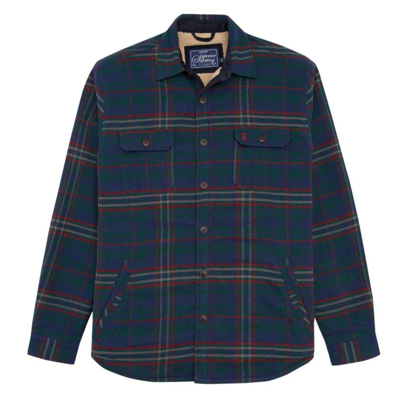 Joules Mens Over Shirt Green Check
