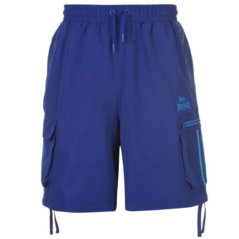 Lonsdale 2 Stripe Cargo Shorts Mens Blue