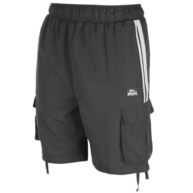 Lonsdale 2 Stripe Cargo Shorts Mens Black