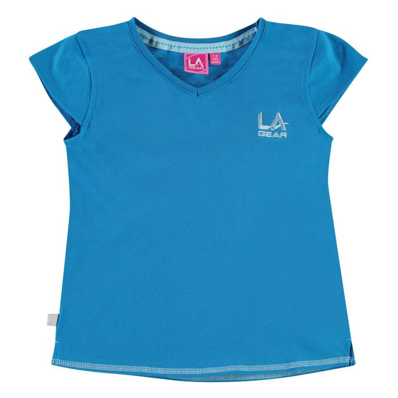 LA Gear V Neck T Shirt Junior Girls Blue
